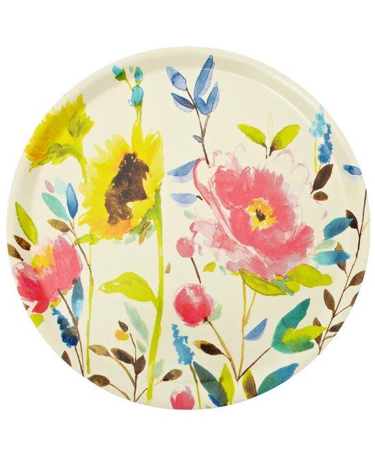 prato com floral em aquarela