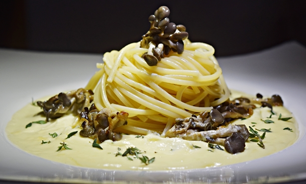 Espaguete com fonduta de queijo e cogumelos
