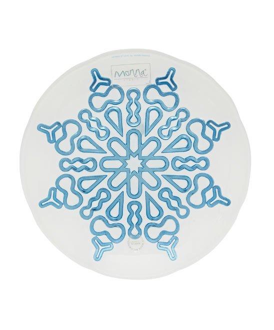 prato de vidro com estrela azul