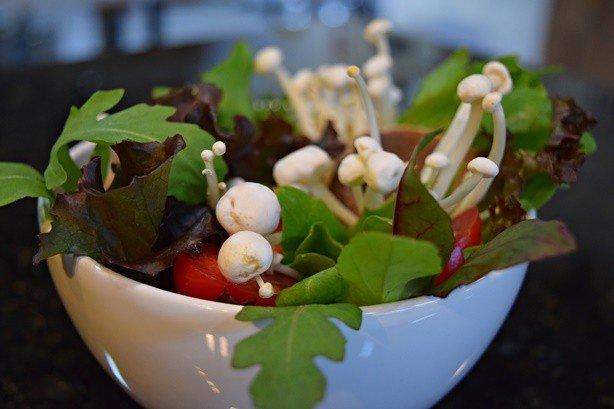 Cogumelos Enoki e uma salada